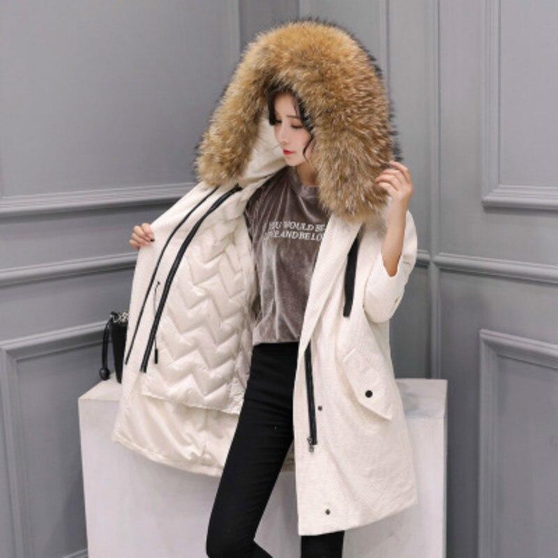 Winter Women's Down Jacket + Large Raccoon Fur Hooded 2020 Korean 90% Duck Down Coat Female Jacket Hiver Casaco LW1279