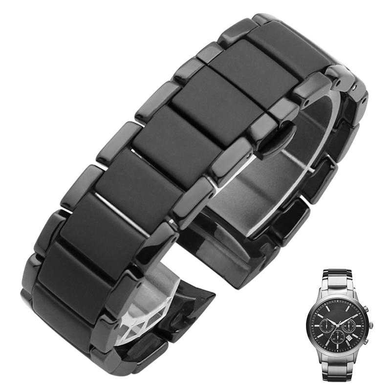 Ceramic Watchband Matt Watch Strap Bracelet Wristwatches Band 22mm 24mm Butterfly Buckle Belt AR1451 AR1452 For Samsung Gear S3
