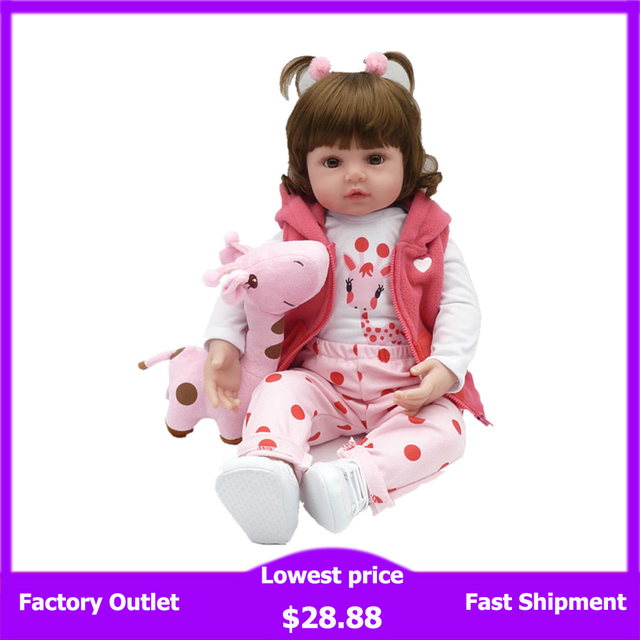 19Inch 48cm Bebe Reborn Baby Girl Lifelike Doll Baby Newborn Toys For Children Christmas Gift And Birthday Gift LoL Doll Toys