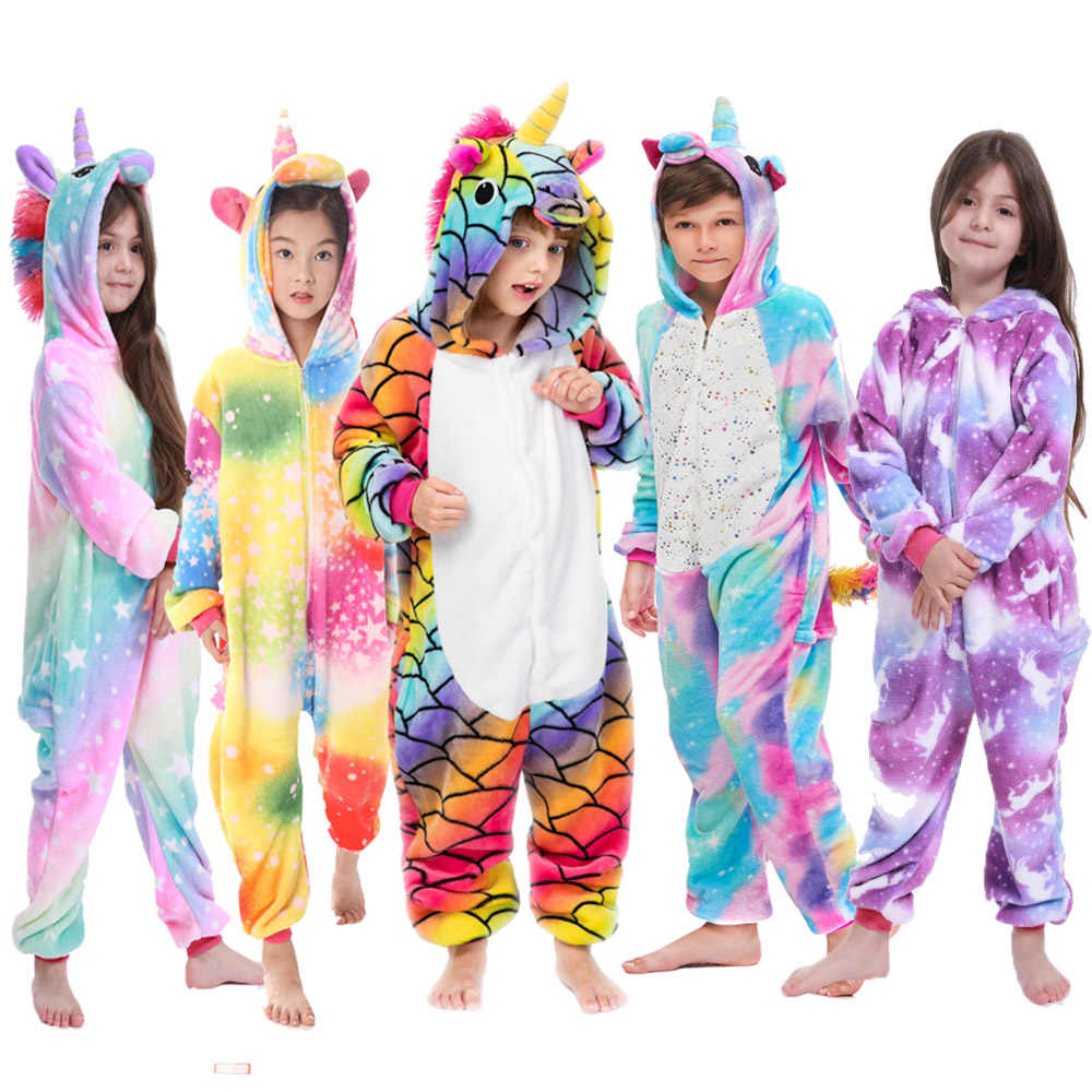 Kigurumi Pajamas Panda Children Girls Unicorn Pajama Boys Stitch Oneises Pijamas Unicornio for 4 6 8 10 12Years Stitch Costume