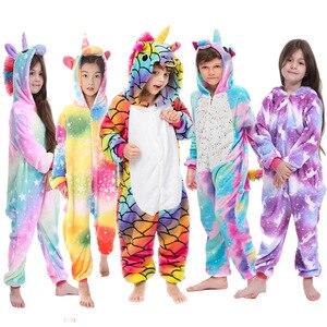 Kigurumi Pajamas Panda Children Girls Unicorn Pajama Boys Stitch Oneises Pijamas Unicornio for 4 6 8 10 12Years Stitch Costume(China)