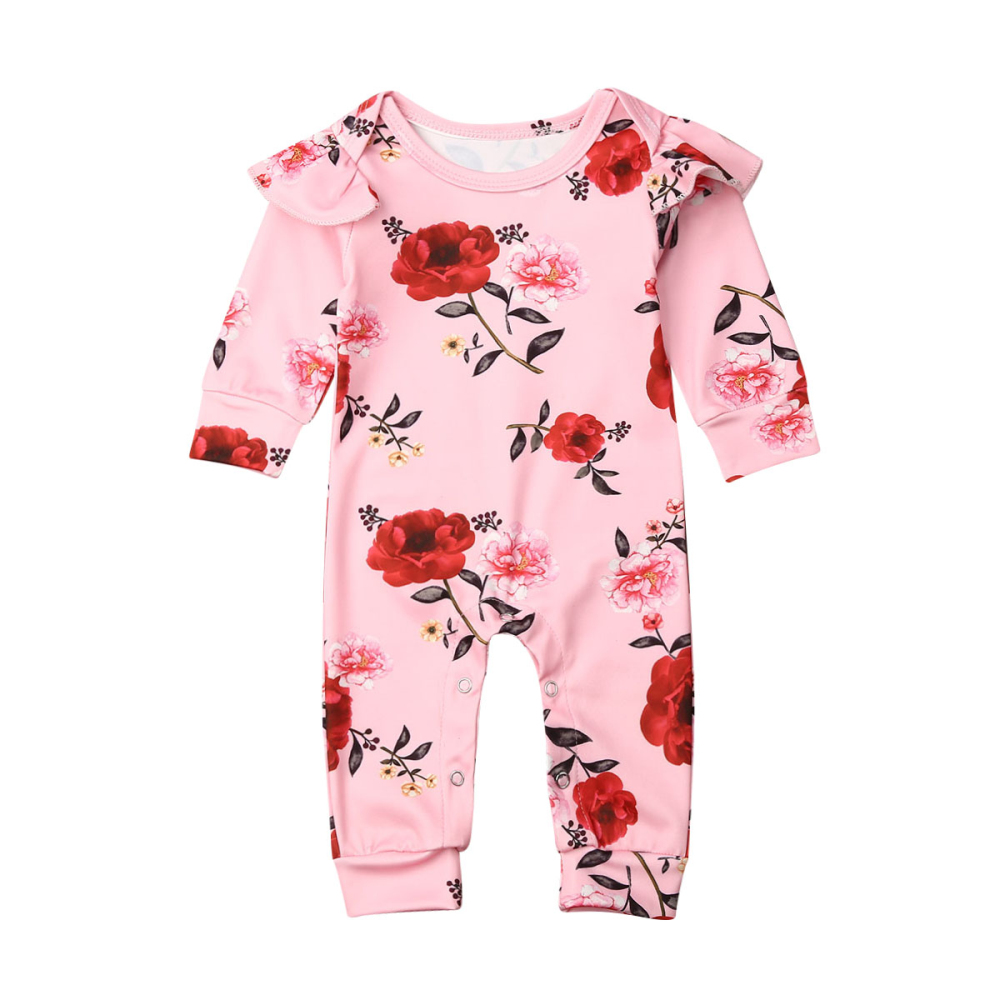 Slowera Baby Girls Cotton Long Sleeve Floral Ruffles Romper