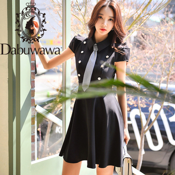 Dabuwawa Preppy Tie Neck Dress Women Fit and Flare Turn-down Collar Double Breasted Party Dress Female DT1BDR044 vintage net panel fit and flare dress
