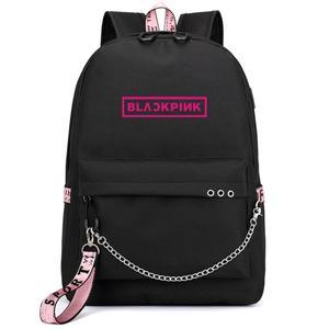 Рюкзак Love BlackPink Rose Lisa для фанатов USB, Школьный черный розовый рюкзак Mochila для путешествий, сумка для ноутбука с цепочкой, usb-порт для наушников