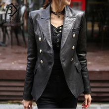 2020 New Fashion Women Spring Autumn Black Faux Leather Jackets Buttons Basic Co