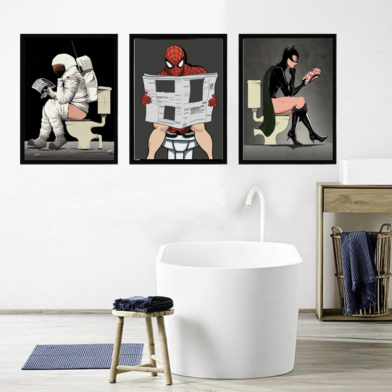 Wall Posters Cartoon Superheros Canvas Prints for Kids Room Bathroom Nursery paintings Modular Animation Pictures