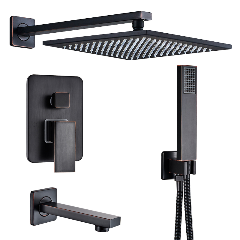 Quyanre RU Shipping Black Concealed Shower Faucets Set 12