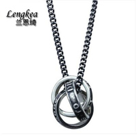 Lengkea jewelry Men choker Men necklaces,925 sterling silver necklace Retro continuous circles pendant men accessories boys gift