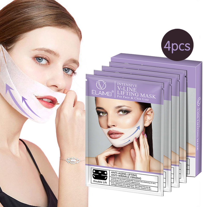4D Double V Shape Face Mask Thin Face Lift Tools Hanging Ear Facial Mask Reduce Double Chin Anti Wrinkle Moisturizing Skin Care