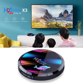 H96 MAX X3 Smart TV Box S905X3 2.4G/5G Wifi BT4.0 Media Set Top Box 4+32GB/64GB/128GB for An-droid 9.0 Systems
