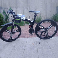 Folding Bike Mountain Bicycle 24/26 inch Off road Transmission Double Shock absorbing Racing Student Adult|Bicycle| |  -