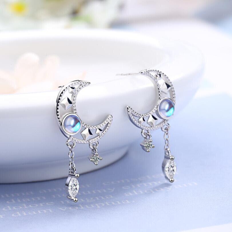 Elegant Hollow Moon Zircon Tassel Stud Earring Silver Colorful Moonstone Earrings Hollow Out Star Moon Earrings For Women