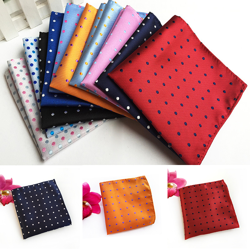 Men's Handkerchief Leisure Polyester Colth Dots Small Square Fashion Party Dress Handkerchief Men Suit Pocket Towel Accessories