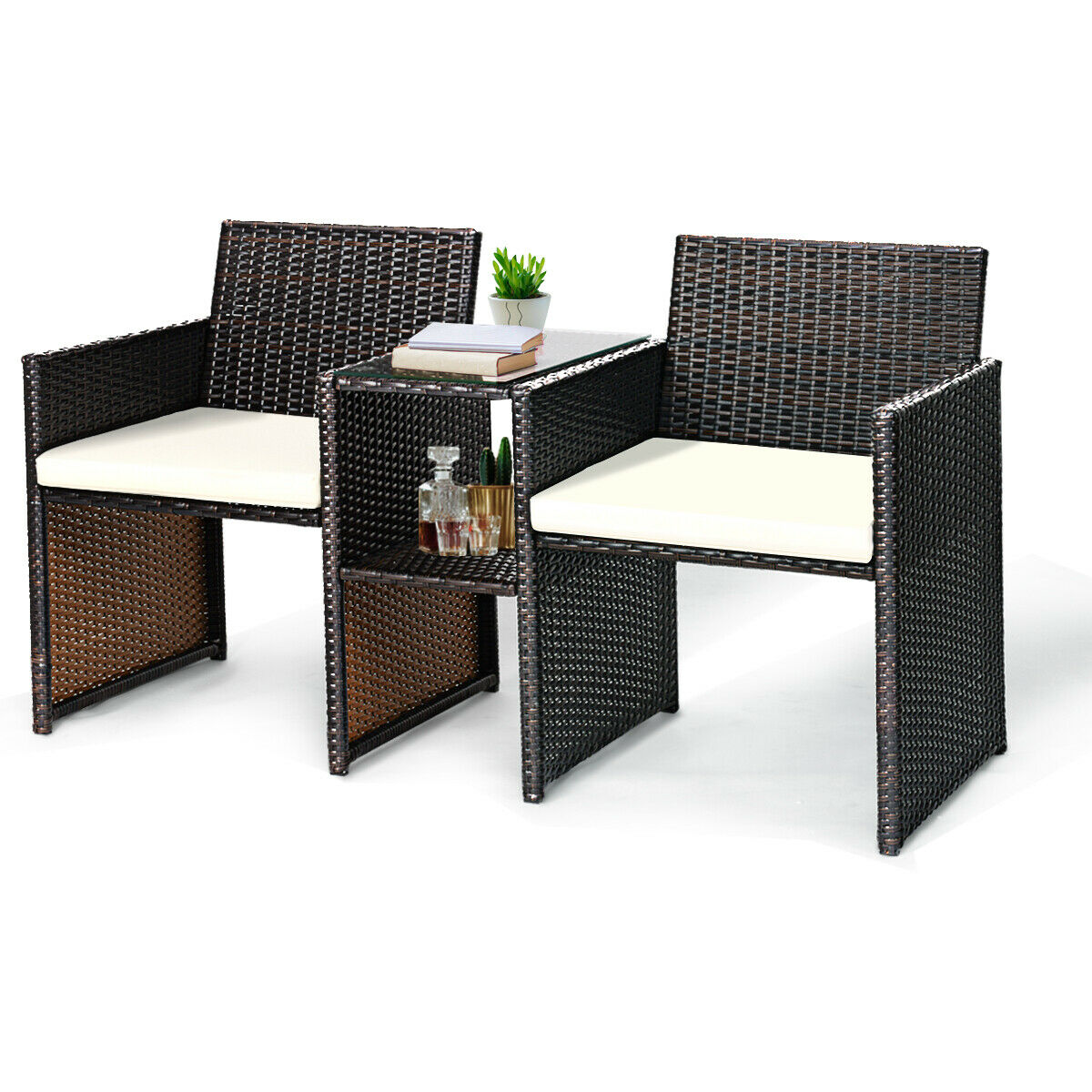 Costway Patio Rattan Loveseat Table Chairs Chat Set Seat Sofa Conversation Cushioned