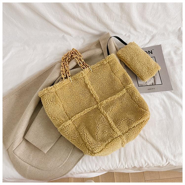 Зимние теплые плюшевые меховые сумки мессенджеры с цепочкой