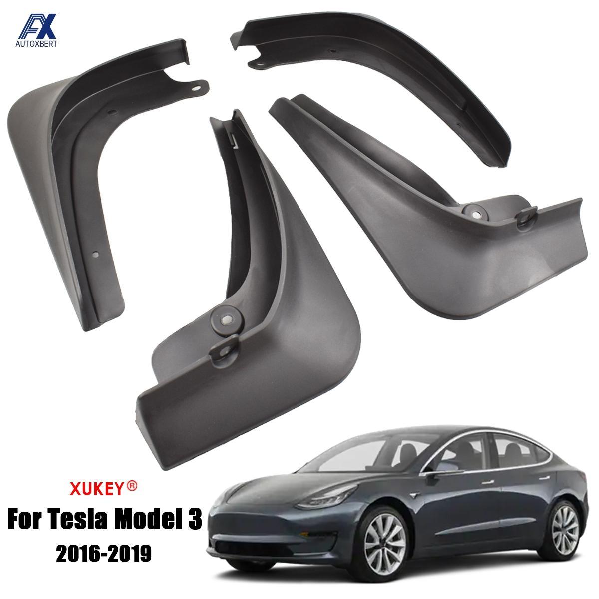 Mud Flaps Mudguards Tesla-Model Front 4pcs for 3 Rear Molded