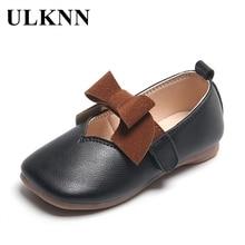 ULKNN Girls' Leather Shoes 2020 Kid's New Bow Pink PU Flats