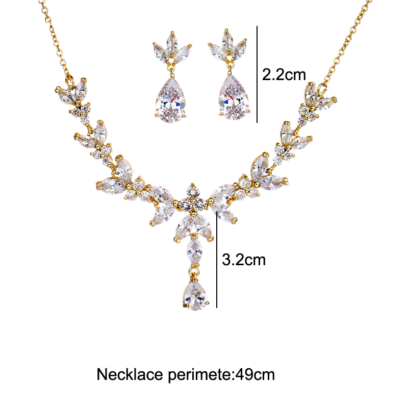 Image 5 - Emmaya Vivid Leaves shape Dazzling Wedding Costume Accessories CZ Crystal Colorful Gift Earrings And Necklace Jewelry SetsBridal Jewelry Sets   -