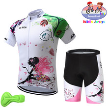 2019 new Girl Cycling Set Child Bike Clothing Boys Jersey Breathable Quick Dry Lovely Kids Suit