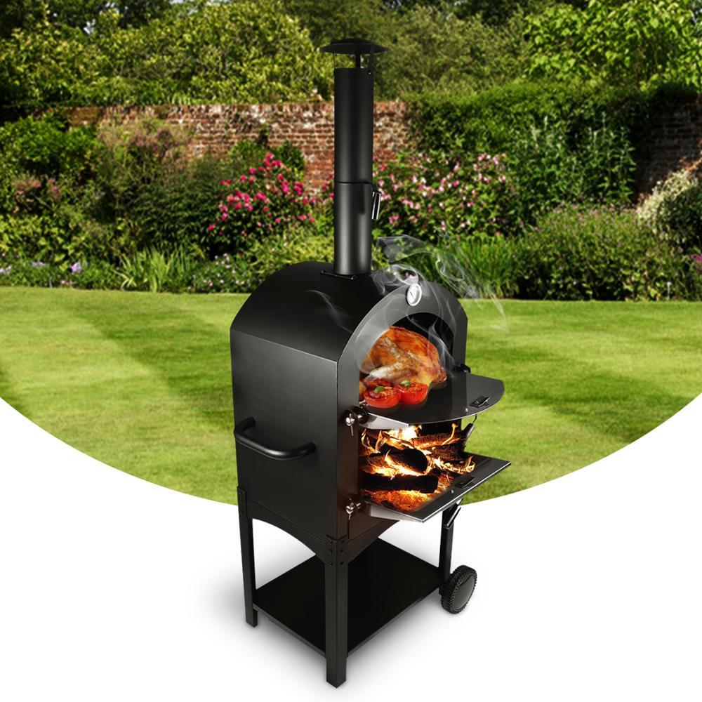 Forno de pizza de aço inoxidável ao ar livre usado madeira ateada fogo delicioso fabricante pizza fogão - 2
