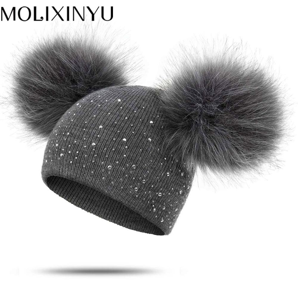 MOLIXINYU New Baby Winter Warm Wool Cap Upgrade Bright Diamond Knit Detachable Hair Ball Pom Hat Baby Boy Girl Cap 1-3 Years Old
