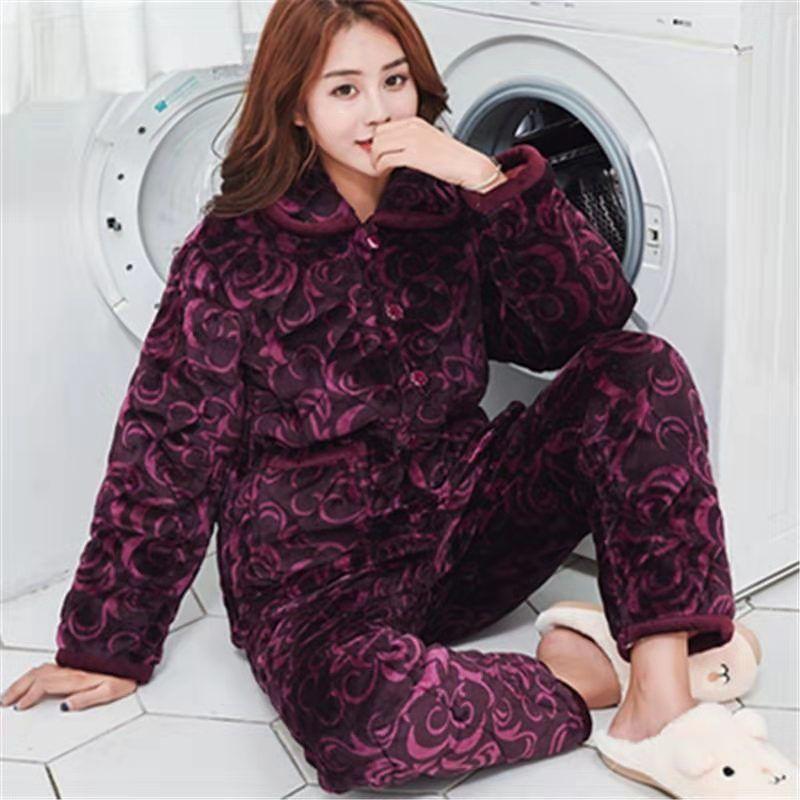 2 Piece Winter Women Pajamas set Sweet Thick Flannel Long Homewear Sleep Lounge Velvet Pajama Female Pyjama 28