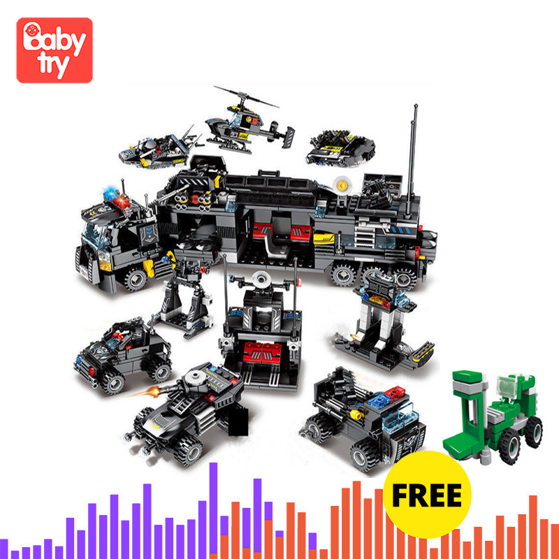 695PCS Bricks City Police SWAT Truck Ship Playmobil Xmas Gift Juguete Technic Building Blocks Legoingly Toys For Children 8 IN 3