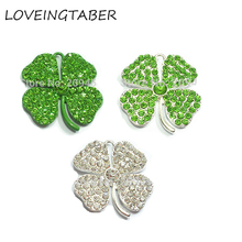 10pcs/Lot All-Rhinestone-Pendants for St. Patrick's-Day Jewelry Choose-Color Clover First