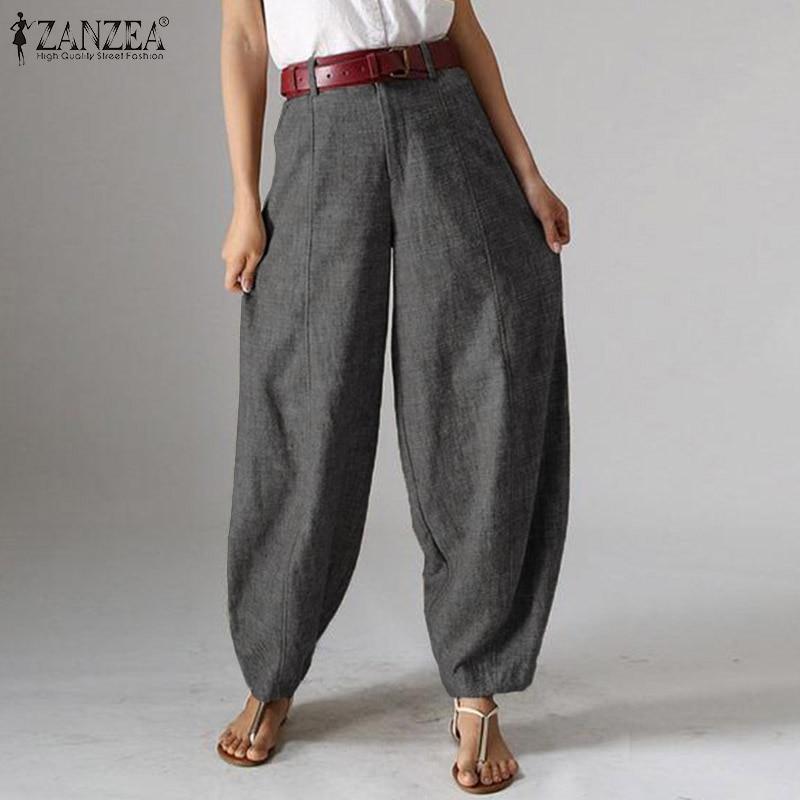 Women High Waist   Pants   ZANZEA Elegant Work OL   Wide     Leg     Pants   Casual Solid Lanten Trousers Loose Long Harem Pantalon Plus Size