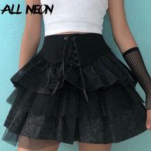 ALLNeon Center Commercial Goth Y2K À Lacets Taille Haute Volants Jupes Punk L'esthétique Bandage A-ligne Dentelle Noir Tutu Jupe E-fille Tenues