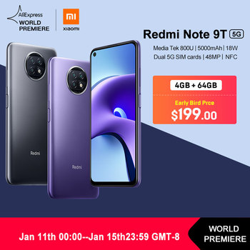 WORLD PREMIERE in Stock Xiaomi Redmi Note 9T 4GB 64GB / 128G NFC smartphone with dual 5G SIM cards 5000mAh 48MP camera