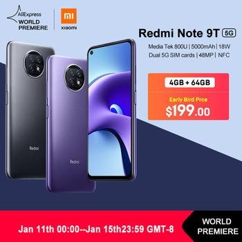WORLD PREMIERE in Stock Xiaomi Redmi Note 9T 4GB 64GB / 128G NFC smartphone with dual 5G SIM cards 5000mAh 48MP camera