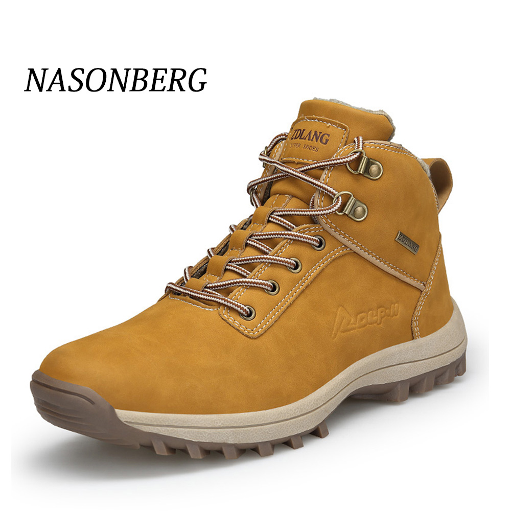 NASONBERG Waterproof Leather Snow Boots Non-slip Hiking Men Shoes New Popular Outdoor Wear Resistant Winter Shoes Men
