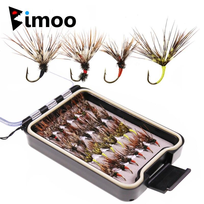 Bimoo 24PCS/Box Tenkara Flies In Waterproof Fly Box Size 12 Barbed Hook Tenkara Fishing Fly Bait Lure