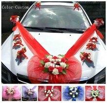 Basit tarzı PE gül düğün araba dekorasyon çiçekler kalp şekilli çelenkler renk özelleştirilebilir
