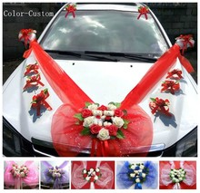 Simple Style PE Rose Wedding Car Decoration Flowers Heart Shaped Wreaths Color Can be Customized