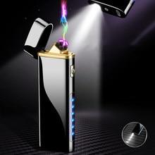 Portátil mini legal duplo arco elétrico mais leve iluminação led lanterna usb recarregável à prova de vento isqueiros exibição energia ao ar livre