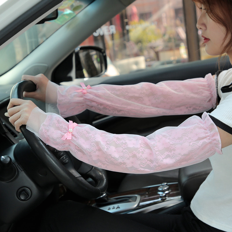 Spring And Summer New Driving Sunscreen Anti-ultraviolet Ice Sleeve Double Bud Silk Yarn Soft Skin Soft Thin Sunscreen Sleeve