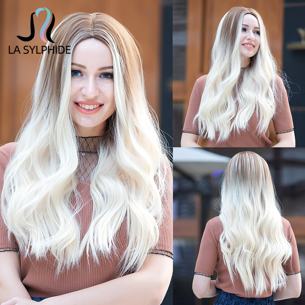 La Sylphide Synthetic Wig Root Light Brown Ombre Platinum Blonde Middle Part Wigs for Woman Daily Use Heat Resistant Hair Wigs
