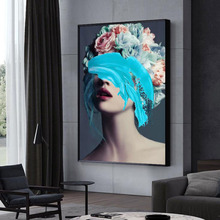 Modern Floral Feather Woman Abstract Fashion Style Canvas Painting Art Print Poster Picture Frame Wall Living Room Home Decor