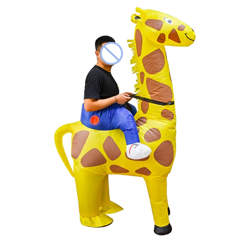 Yellow Giraffe Halloween Adult Cosplay Inflatable Suit Festive Party Clothing P31B