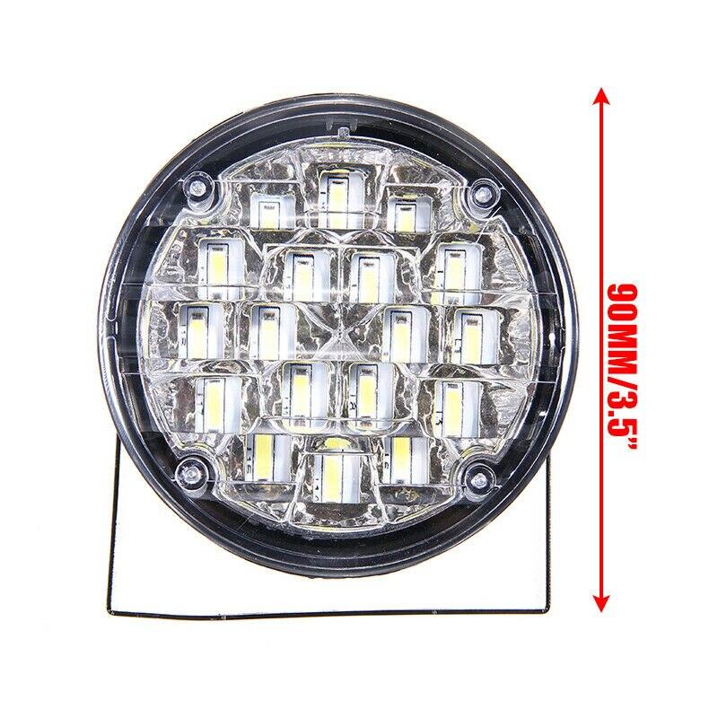 2x18 LED yuvarlak araba DRL sürüş gündüz çalışan sis işık gün çalışma lambası 12V 6000K-6500K beyaz araba far sis lambası