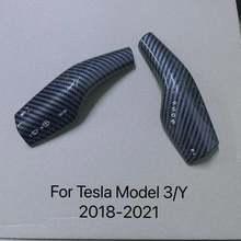 Für Tesla Modell 3 matte schwarz Carbon fiber patch dekoration lenkrad lenkung hebel Modell Y wischer controller ABS Kunststoff