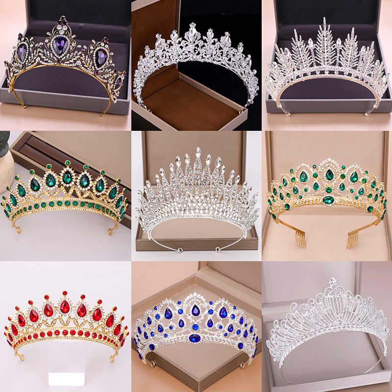 Bruiloft Kroon Bruids Hoofddeksel Goud Zilver Kleur Rhinestone Crystal Diadeem Koningin Kroonprinses Tiara Bruiloft Haar Sieraden