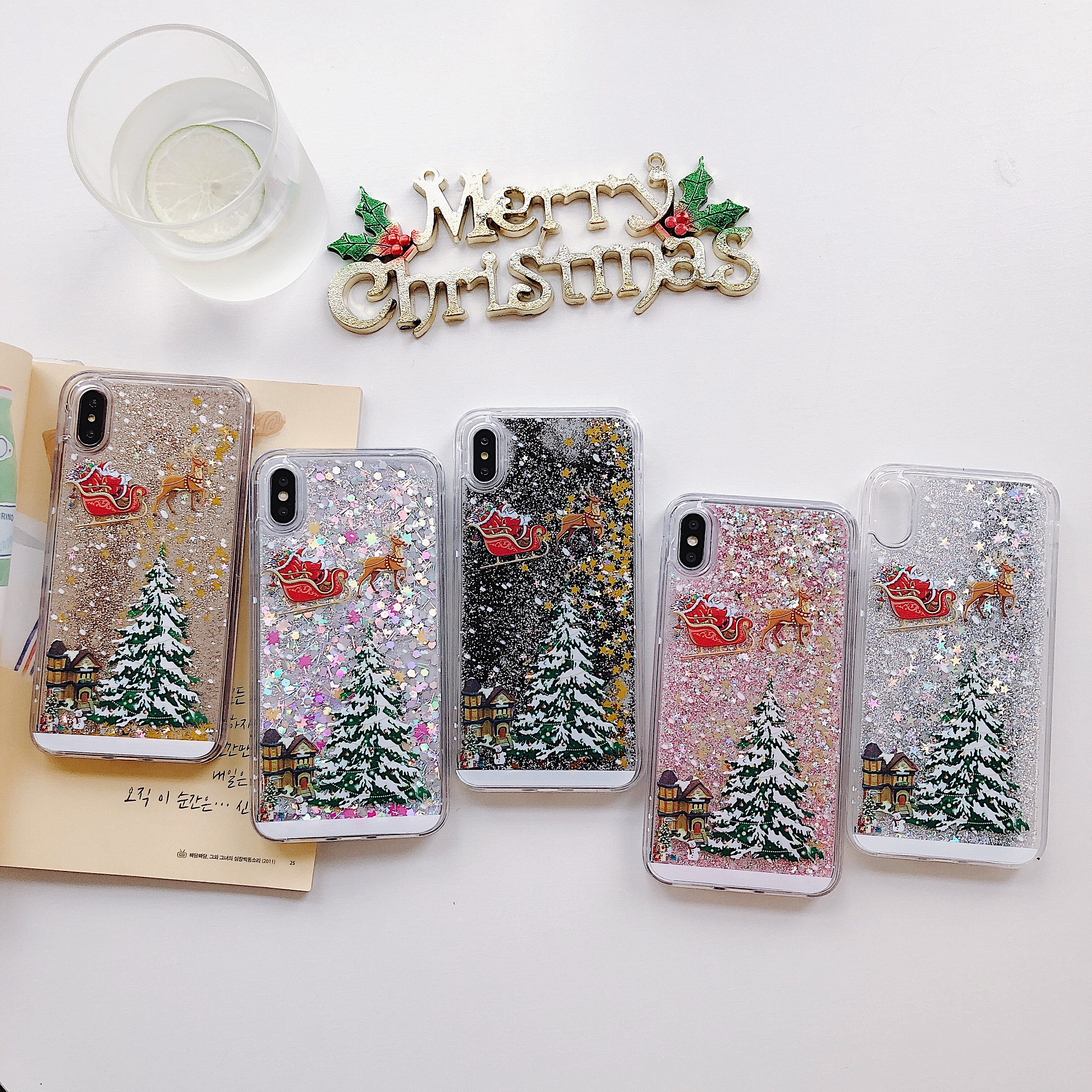 Glitter Christmas tree <font><b>Case</b></font> for <font><b>Samsung</b></font> Galaxy <font><b>S7</b></font> Edge S8 S9 Plus S10 Lite S10E Note 8 9 10 pro Silicone Diamond quicksand <font><b>Case</b></font> image
