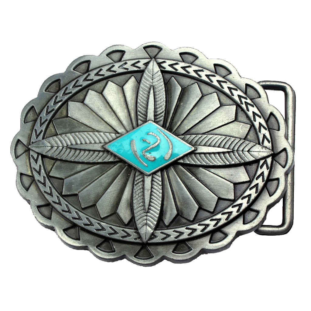 Wave Brims Oval Alloy Flower Shaped Indian Aborigine Belt Buckle For Cowboy Men Accessories