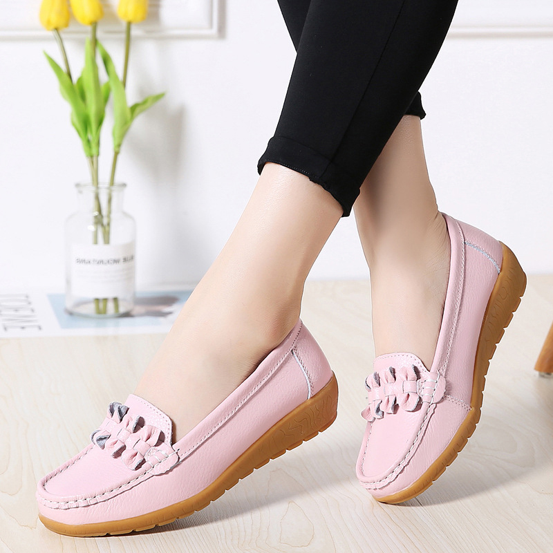 Image 2 - 2020 Women Loafers Genuine Leather Flat Shoes Ballet Flats Slip On Female Moccasins Casual Dress Shoe Peas Extra Wide ShoesWomens Flats   -