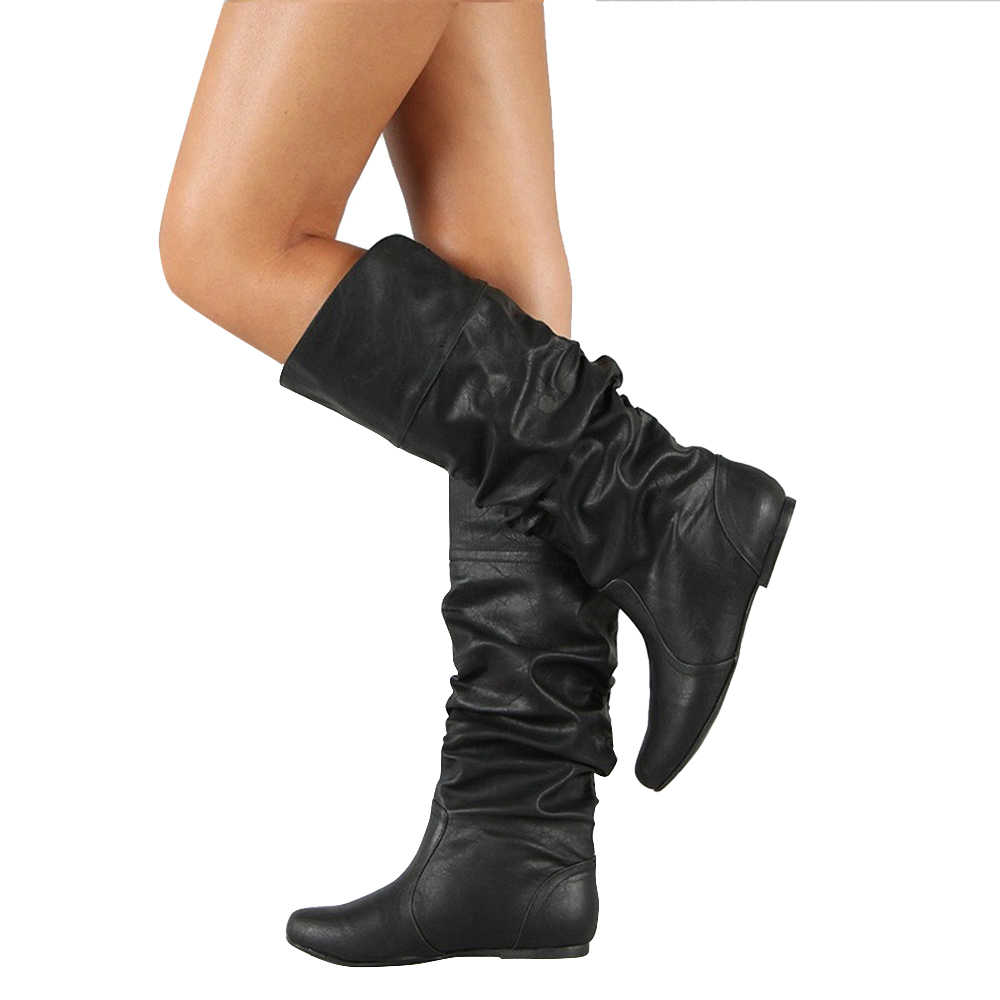 Women PU Leather Knee High Boots Solid Slip-On Flat Rain Boots Round Toe Fashion Winter Ladies Shoes Size 34-43