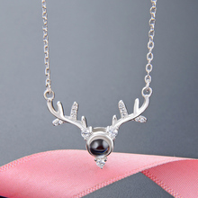 Fashion Silver Necklace Women Exquisite Simple Deer Head Shape Synthetic Moonstone Decoration Pendant Female
