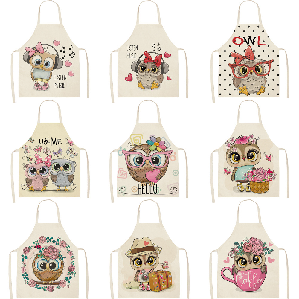 Parent-child Kitchen Apron Cartoon Lovely Owl Printed Sleeveless Cotton Linen Aprons For Men Women Home Cleaning Tools